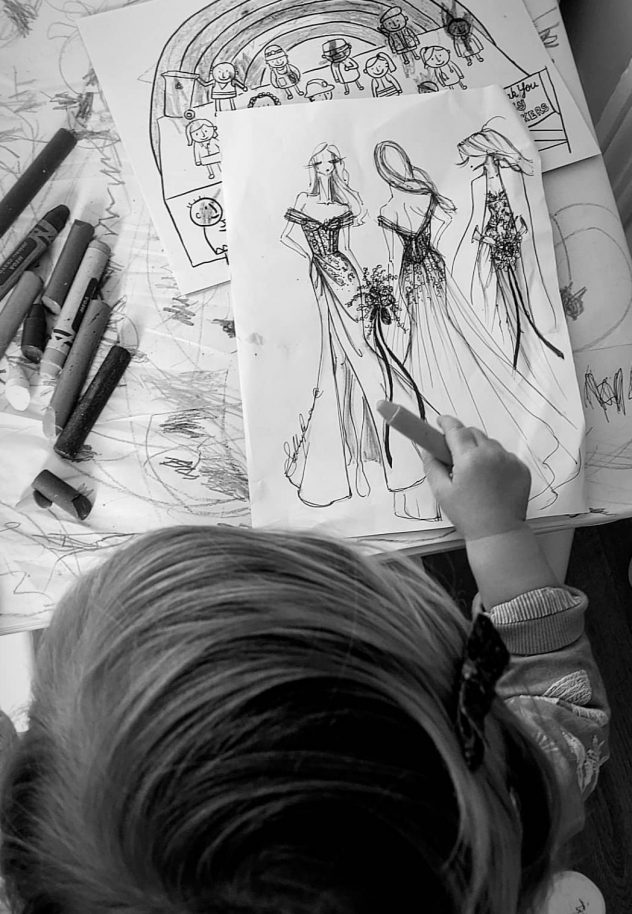 Lillyanna sketching my designs