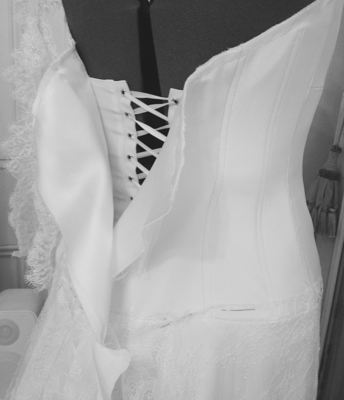 Inside couture wedding dress Sally Bean Couture