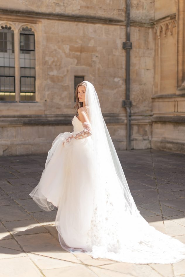 Silk ballgown lace wedding dress