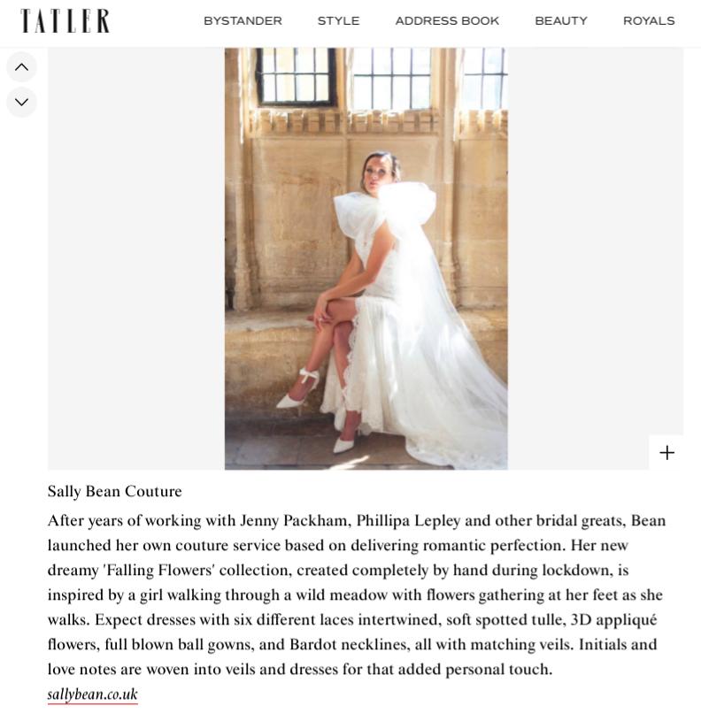Sally Bean Bridal Designer featured in Tatler